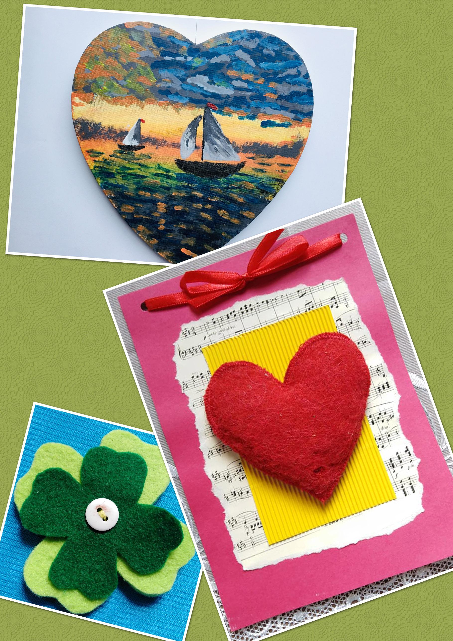 zestaw prac plastycznych: zielona koniczyna z filcu, laurka kartonowa z filcowym sercem, obrazek:żaglówka na jeziorze, zachód słońca